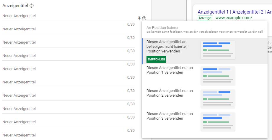 Google Ads Responsive Suchanzeigen