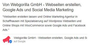 Beispiel Google MyBusiness Eintrag von WebGorilla